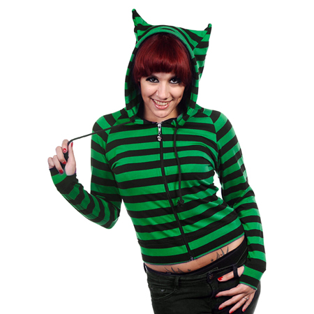 Banned Black & Green Striped Cat Ears Hoodie