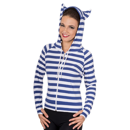 Blue & White Striped Cat Ears Hoodie