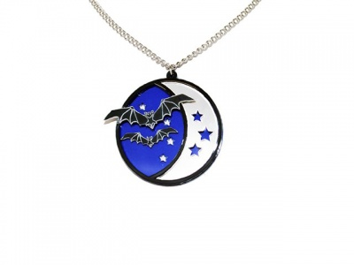 Bat Crescent Moon Acrylic Necklace