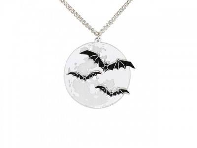 Bat Full Moon Acrylic Necklace