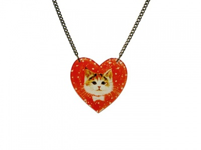 Cat Heart Acrylic Necklace
