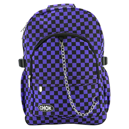 CHOK Black & Purple Checked Backpack