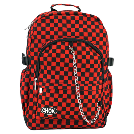 CHOK Black & Red Checked Backpack