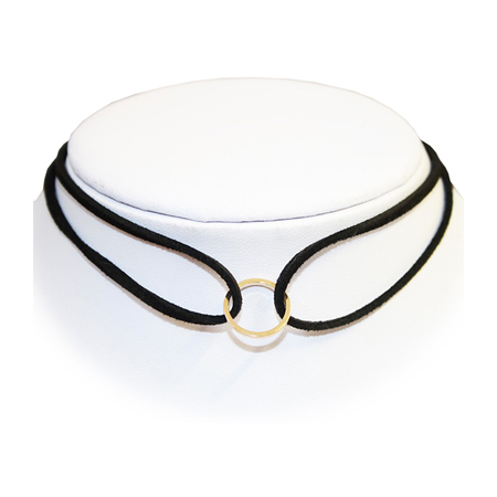 Extreme Largeness Black Faux Suede Double Choker with Gold Hoop