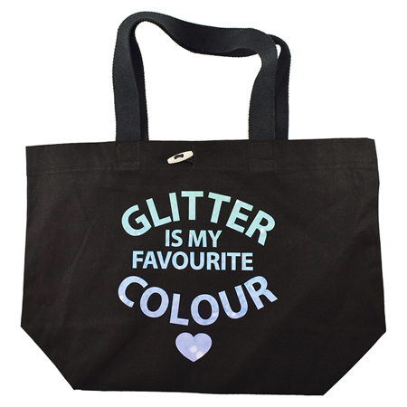 Glitter Is My Favorite Colour Tote Bag with Glitter Ink