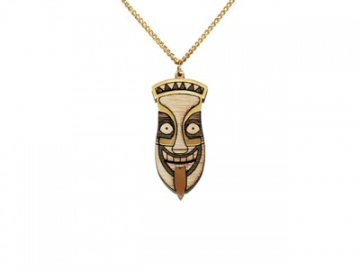 Gold Tiki Head Wooden Necklace