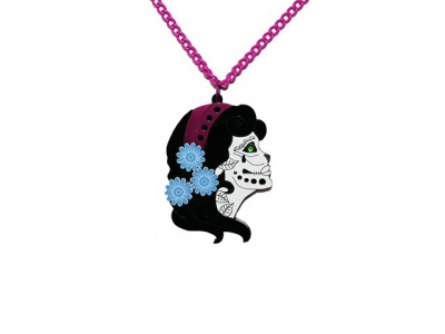 Pink Day of the Dead Acrylic Necklace