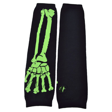 Poizen Industries Black & Green Skeleton Arm Warmers