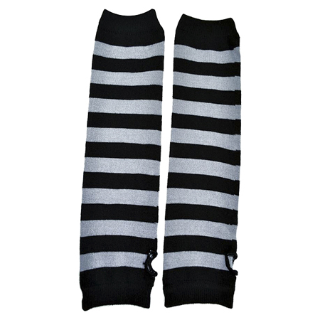 Poizen Industries Black & Grey Striped Arm Warmers