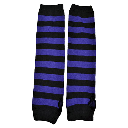 Poizen Industries Black & Purple Striped Arm Warmers