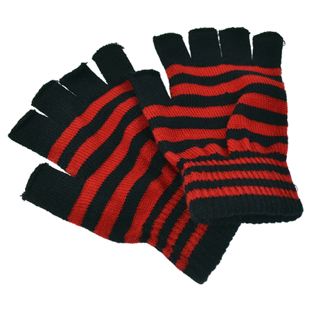Poizen Industries Black & Red Striped Fingerless Gloves