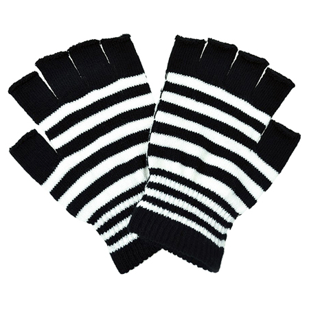 Poizen Industries Black & White Striped Fingerless Gloves