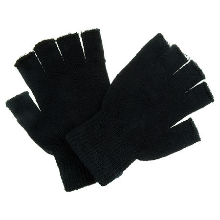 Poizen Industries Black Fingerless Gloves