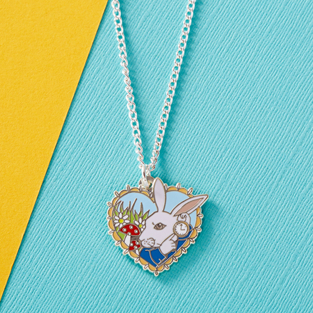 Punky Pins Alice 'White Rabbit' Enamel Necklace