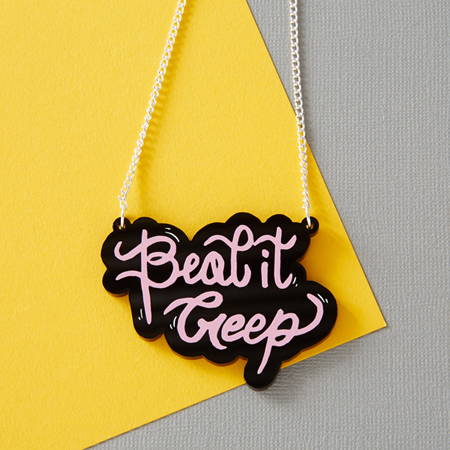 Punky Pins Beat It Creep Acrylic Necklace