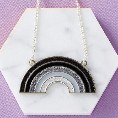 Punky Pins Black Rainbow Enamel Necklace