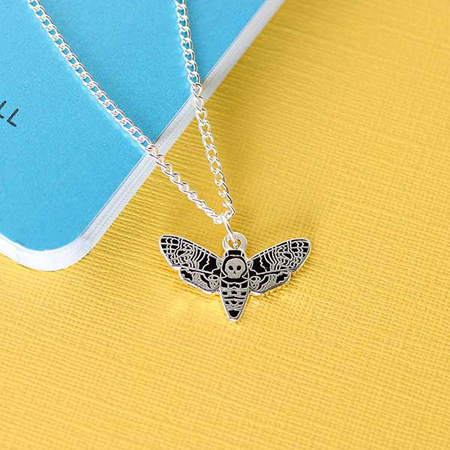 Punky Pins Death Head Moth Enamel Necklace