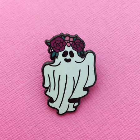 Punky Pins Floral Crown Ghost Enamel Pin