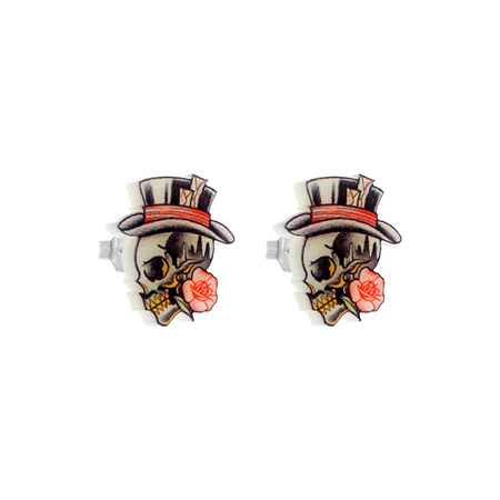 Punky Pins Gentleman Skull Stud Earrings