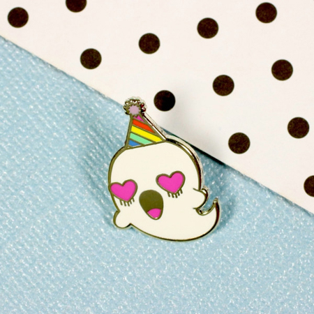 Punky Pins Party Ghost Enamel Pin