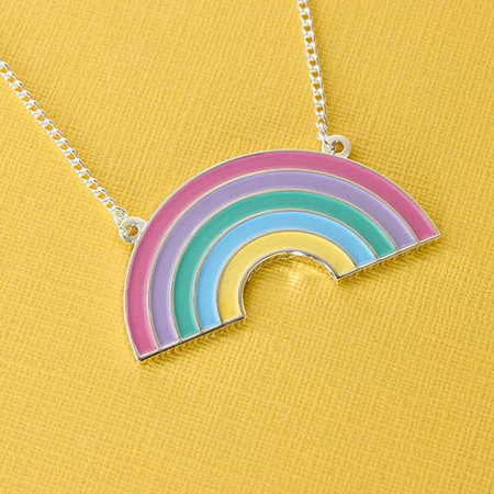 Punky Pins Pastel Rainbow Acrylic Necklace