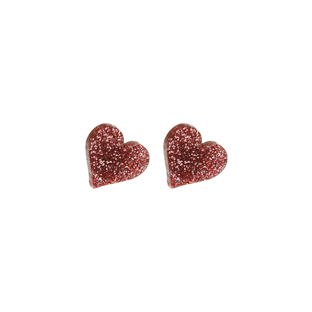 Punky Pins Pink Glitter Heart Stud Earrings