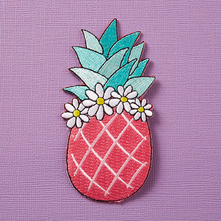Punky Pins Pink Pineapple with Floral Crown Embroidered Iron-On Patch