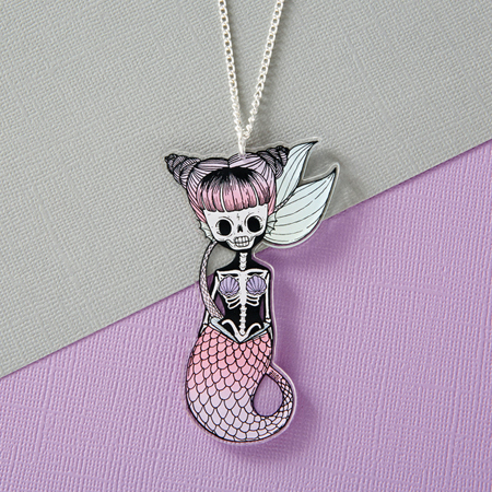 Punky Pins Spooky Mermaid Acrylic Necklace