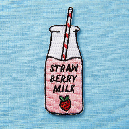 Punky Pins Strawberry Milk Embroidered Iron-On Patch