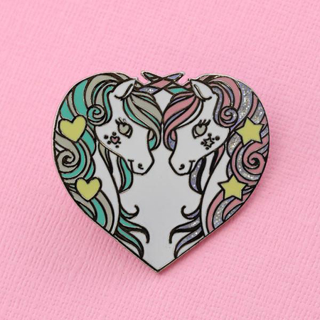 Punky Pins Unicorn Sisters Enamel Pin with Glitter