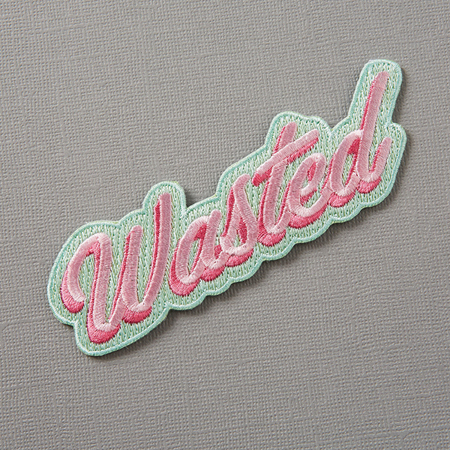 Punky Pins Wasted Embroidered Iron-On Patch