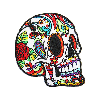 White Sugar Skull Iron-On Patch