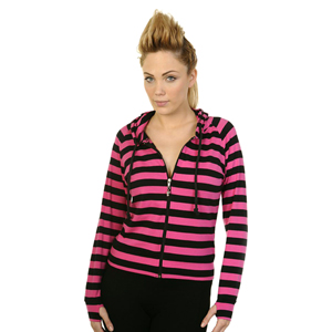 Banned Black & Pink Striped Cat Ears Hoodie