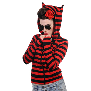 Banned Black & Red Striped Cat Ears Hoodie