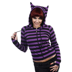 Black & Purple Striped Cat Ears Hoodie
