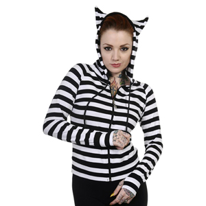 Black & White Striped Cat Ears Hoodie