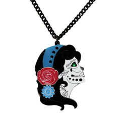 Blue Day of the Dead Acrylic Necklace