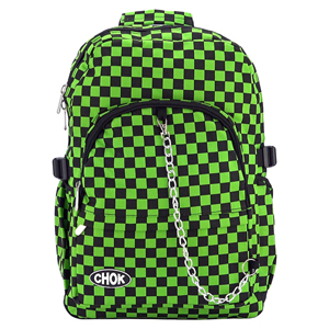 CHOK Black & Green Checked Backpack