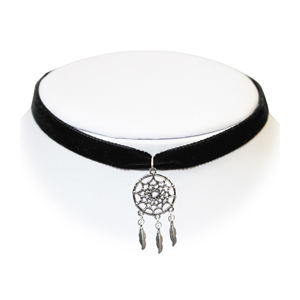 Extreme Largeness Black Velvet Choker with Dreamcatcher Charm