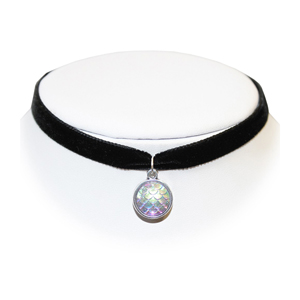 Extreme Largeness Black Velvet Choker with Iridescent Mermaid Charm