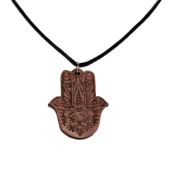 Hamsa Hand Wooden Necklace