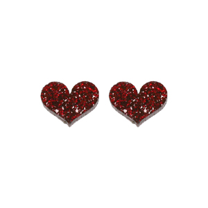 Punky Pins 'Alice' Red Glitter Heart Stud Earrings