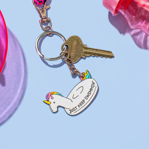 Punky Pins Just Keep Swimmin' Unicorn Enamel Keyring