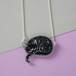 Punky Pins Mystical Cat Acrylic Necklace