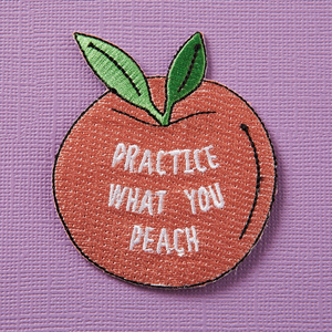 Punky Pins Practice What You Peach Iron-On Patch