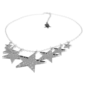 Punky Pins Silver Mirror Star Cluster Acrylic Necklace