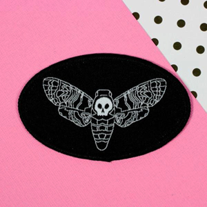 Punky Pins Death Moth Head Iron-On Patch